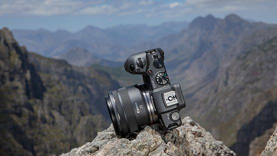 EOS RP Mirrorless full frame camera up a mountain